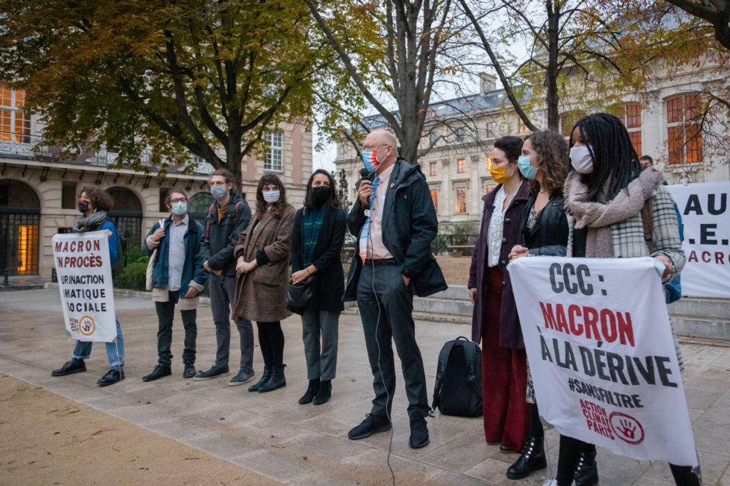 Les Décrocheur·ses en appel à Paris avec Jean-Pascal Van Ypersele du GIEC, 22 octobre 2020 – photo Iris
