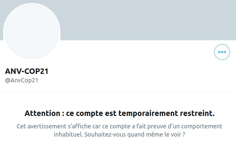 Capture d'écran du compte Twitter d'ANV-COP21 bloqué
