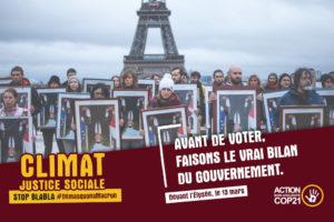 Les décrocheurs de portraits révéleront le vrai bilan climatique d'Emmanuel Macron devant l'Élysée la veille des municipales : image à la une