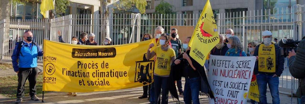 """Rassemblement de soutien aux décrocheuses et décrocheurs de portraits d'ANV-COP21 et d'Arrêt du Nucléaire 34 en procès le 10 novembre 2020 à Montpellier : """"Ni effet de serre, ni nucléaire !"""""""