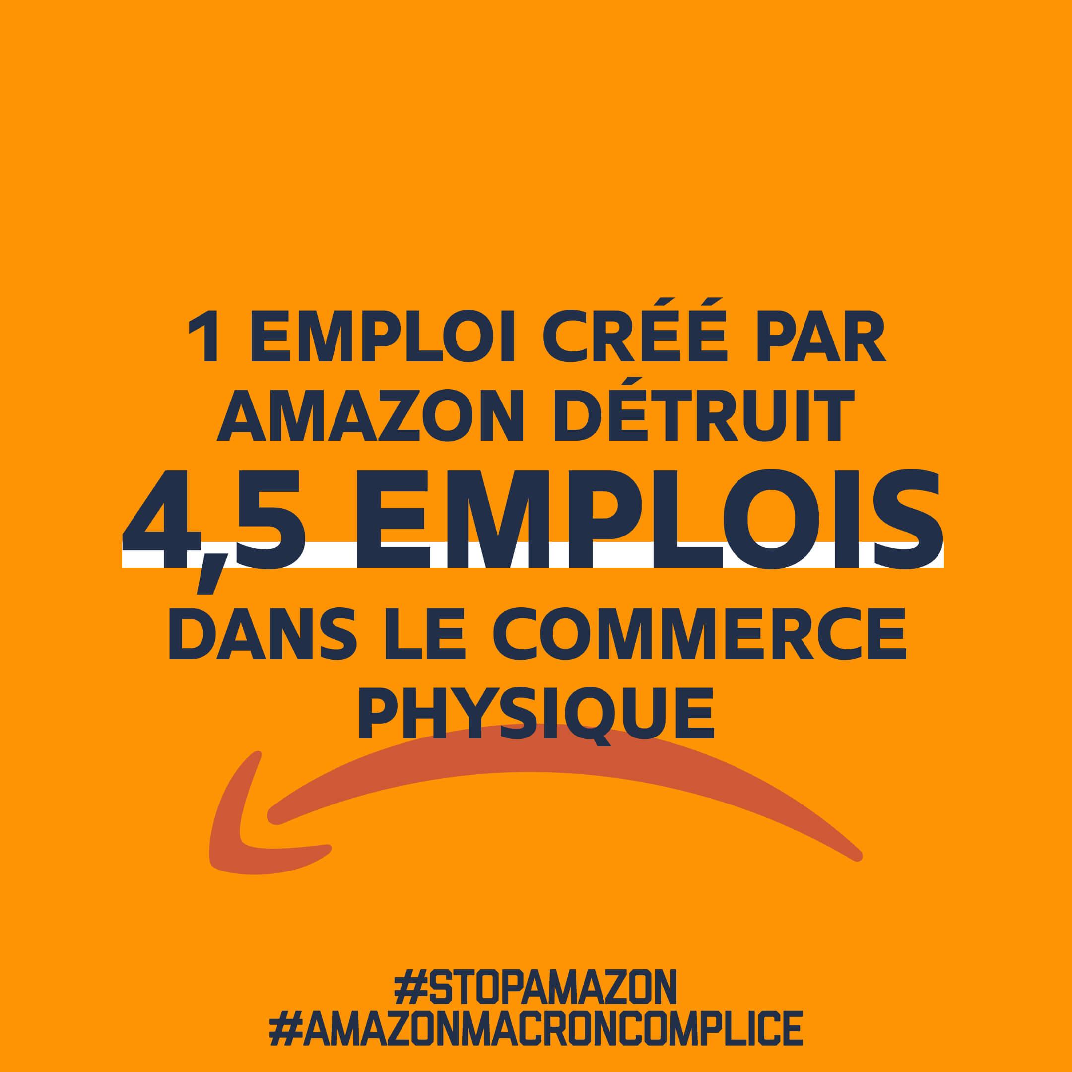 1 emploi créé par Amazon détruit 4,5 emplois