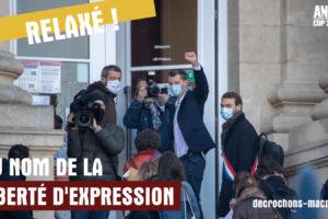 Gaspard face à Macron : le tribunal relaxe le décrocheur : image à la une